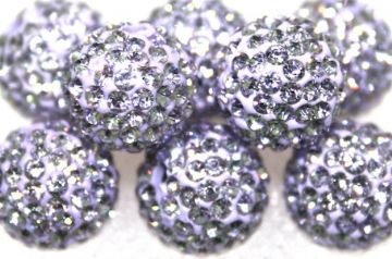 10mm Lilac 115 Stone Pave Crystal Beads- Half Drilled PCBHD10-115-015